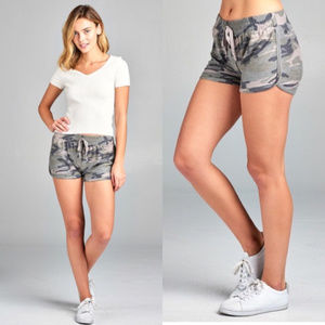 Pants - Camo shorts, womens camouflage shorts french terry